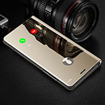 Leather Case Stands Flip Mirror Cover Holder L02 for Xiaomi Mi 10 Pro Gold