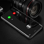 Leather Case Stands Flip Mirror Cover Holder M01 for Xiaomi Redmi Note 8 Pro Black