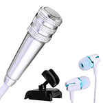 Luxury 3.5mm Mini Handheld Microphone Singing Recording with Stand M08 Silver