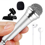 Luxury 3.5mm Mini Handheld Microphone Singing Recording with Stand M12 Silver