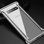 Luxury Aluminum Metal Frame Cover Case T01 for Samsung Galaxy S10 Silver