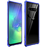 Luxury Aluminum Metal Frame Mirror Cover Case 360 Degrees for Samsung Galaxy S10 Blue