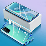 Luxury Aluminum Metal Frame Mirror Cover Case 360 Degrees M01 for OnePlus 8T 5G Blue