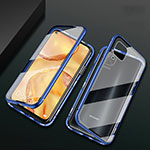 Luxury Aluminum Metal Frame Mirror Cover Case 360 Degrees M02 for Huawei P40 Lite Blue