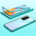 Luxury Aluminum Metal Frame Mirror Cover Case 360 Degrees T01 for Huawei P40 Pro Cyan