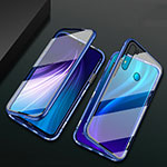 Luxury Aluminum Metal Frame Mirror Cover Case 360 Degrees T01 for Xiaomi Redmi Note 8 Blue