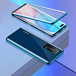 Luxury Aluminum Metal Frame Mirror Cover Case 360 Degrees T02 for Huawei P40 Pro+ Plus Blue