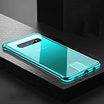 Luxury Aluminum Metal Frame Mirror Cover Case 360 Degrees T02 for Samsung Galaxy S10 Cyan
