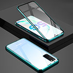 Luxury Aluminum Metal Frame Mirror Cover Case 360 Degrees T02 for Samsung Galaxy S20 5G Green