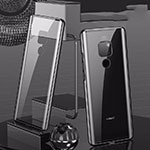 Luxury Aluminum Metal Frame Mirror Cover Case 360 Degrees T04 for Huawei Mate 20 Black