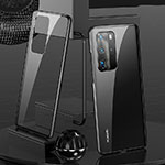 Luxury Aluminum Metal Frame Mirror Cover Case 360 Degrees T04 for Huawei P40 Pro Black