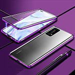 Luxury Aluminum Metal Frame Mirror Cover Case 360 Degrees T04 for Huawei P40 Pro+ Plus Purple