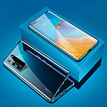 Luxury Aluminum Metal Frame Mirror Cover Case 360 Degrees T05 for Huawei P40 Pro Blue