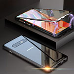 Luxury Aluminum Metal Frame Mirror Cover Case 360 Degrees T05 for Samsung Galaxy S10 Black