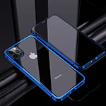 Luxury Aluminum Metal Frame Mirror Cover Case 360 Degrees T06 for Apple iPhone 12 Pro Blue