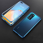 Luxury Aluminum Metal Frame Mirror Cover Case 360 Degrees T06 for Huawei P40 Pro Blue