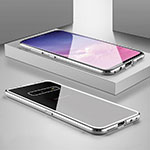 Luxury Aluminum Metal Frame Mirror Cover Case 360 Degrees T06 for Samsung Galaxy S10 Silver