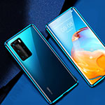 Luxury Aluminum Metal Frame Mirror Cover Case 360 Degrees T07 for Huawei P40 Pro Blue