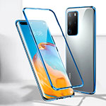 Luxury Aluminum Metal Frame Mirror Cover Case 360 Degrees T08 for Huawei P40 Pro Blue