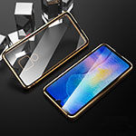 Luxury Aluminum Metal Frame Mirror Cover Case 360 Degrees T10 for Huawei Mate 20 Gold