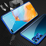 Luxury Aluminum Metal Frame Mirror Cover Case 360 Degrees T12 for Huawei P40 Pro Blue