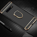 Luxury Metal Frame and Plastic Back Cover Case with Finger Ring Stand T01 for Samsung Galaxy S10 Black