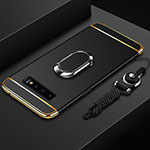 Luxury Metal Frame and Plastic Back Cover Case with Finger Ring Stand T02 for Samsung Galaxy S10 Black