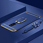 Luxury Metal Frame and Plastic Back Cover with Finger Ring Stand and Lanyard for Samsung Galaxy A6 Plus Blue