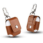 Protective Leather Case Skin for Apple Airpods Charging Box with Keychain A01 for Apple AirPods Brown