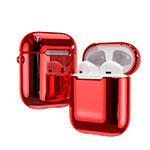 Protective Silicone Case Skin for Apple Airpods Charging Box with Keychain C03 for Apple AirPods Red