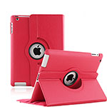 Rotating Stands Flip Leather Case for Apple iPad 3 Red