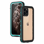 Silicone and Plastic Waterproof Cover Case 360 Degrees Underwater Shell for Apple iPhone 12 Pro Cyan