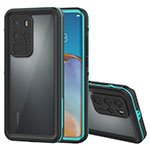 Silicone and Plastic Waterproof Cover Case 360 Degrees Underwater Shell for Huawei P40 Pro Cyan