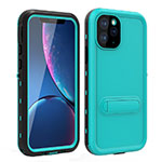 Silicone and Plastic Waterproof Cover Case 360 Degrees Underwater Shell with Stand for Apple iPhone 11 Pro Max Cyan