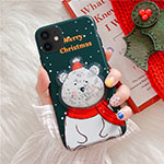 Silicone Candy Rubber Gel Christmas Pattern Soft Case Cover for Apple iPhone 12 Green