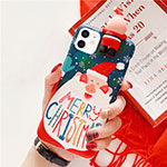 Silicone Candy Rubber Gel Christmas Pattern Soft Case Cover S01 for Apple iPhone 12 Blue