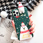 Silicone Candy Rubber Gel Christmas Pattern Soft Case Cover S02 for Apple iPhone 12 Pro Green
