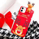 Silicone Candy Rubber Gel Christmas Pattern Soft Case Cover S02 for Apple iPhone 12 Red