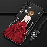 Silicone Candy Rubber Gel Dress Party Girl Soft Case Cover for Apple iPhone 12 Red and Black
