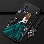 Silicone Candy Rubber Gel Dress Party Girl Soft Case Cover for Oppo Find X2 Neo Green