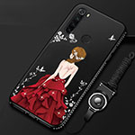 Silicone Candy Rubber Gel Dress Party Girl Soft Case Cover for Xiaomi Redmi Note 8 Red and Black