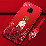 Silicone Candy Rubber Gel Dress Party Girl Soft Case Cover K01 for Huawei Mate 20 Pro Red