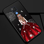 Silicone Candy Rubber Gel Dress Party Girl Soft Case Cover K01 for Huawei Mate 20 Red and Black