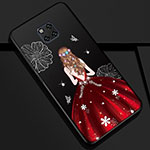 Silicone Candy Rubber Gel Dress Party Girl Soft Case Cover K02 for Huawei Mate 20 Pro Red and Black