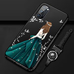 Silicone Candy Rubber Gel Dress Party Girl Soft Case Cover S01 for Oppo Reno4 Pro 5G Green