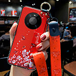 Silicone Candy Rubber Gel Flowers Soft Case Cover S01 for Huawei Mate 40 Pro Red