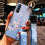 Silicone Candy Rubber Gel Flowers Soft Case Cover S01 for Oppo Find X2 Neo Sky Blue