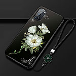Silicone Candy Rubber Gel Flowers Soft Case Cover S01 for Oppo Reno4 Pro 5G White