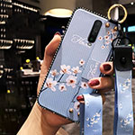 Silicone Candy Rubber Gel Flowers Soft Case Cover S01 for Xiaomi Redmi K30 5G Sky Blue