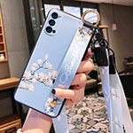Silicone Candy Rubber Gel Flowers Soft Case Cover S03 for Oppo Reno4 Pro 5G Sky Blue